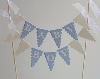Baby Boy Cake Topper - Baby Shower Cake Bunting - Pale Blue and White
