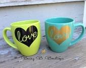 Love Coffee Mug // Gold Heart with Love Coffee Cup