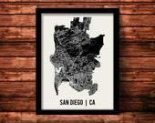 San Diego Map Art Print   San Diego Print   San Diego Art Print   San Diego Poster   San Diego Gift   Wall Art