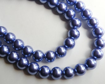 Violet grape purple glass pearl beads round 12mm full strand 2028GL