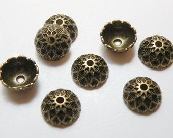 10 Acorn cap bead caps antique bronze mighty oak tree 14.5x6mm DB41358