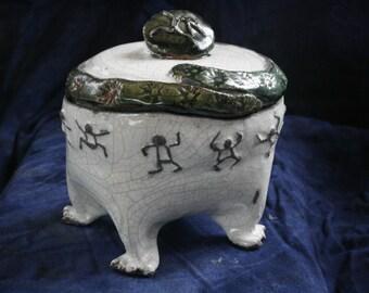 Party Time Raku Jar from Clay Creature Comforts