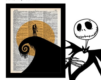 Nightmare Before Christmas 1 Jack & Sally Silhouette on Vintage Upcycled Dictionary Art Print Book Art Print Book Lover Art Gift