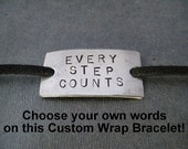 PERSONALIZED CUSTOM Bracelet Wrap - Choose your or words Hand Stamped Nickel Silver Pendant on 3 feet of Micro Fiber Suede - Shoe Lace Plate