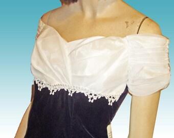UNWORN 70s Off-Shoulder Deep Blue Velvet Cocktail Dress w Ruched White Chiffon Bust 34