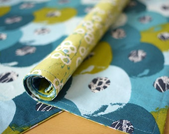 Blue Silica Print Reversible Cotton Placemats from my Mineral Forest Collection of Fabrics