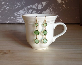 Beautiful Green Glass Gold Earrings