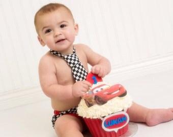 cake smash diaper cover and tie race car driver set, first birthday diaper cover and tie set checkered black white