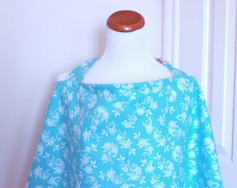 Reversible Nursing Cover with pocket-Aqua & Pink