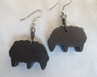 Wooden Black Sheep Earrings - Upcycled Vintage Toys