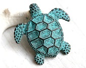 Turtle pendant bead, Green patina on copper, Greek casting, large, Lead Free, 45mm - 1pc - F119