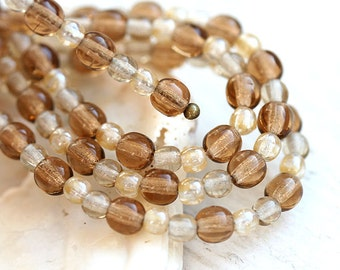 Neutral beads Mix, Beige brown Czech glass round spacers, druk, small - 4-3mm - approx.120Pc - 0177