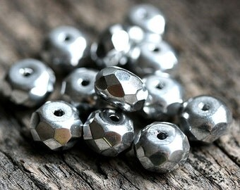 Silver colored Czech spacer beads, silver glass beads, donut, rondelle, gemstone cut - 5x8mm - 12Pc - 0169