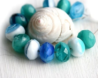 Czech glass beads - Sea Colored Mix, Blue, Teal, White - spacer beads, donut, rondelle, gemstone cut - 6x9mm - 12Pc - 1282