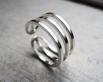 Triple Knuckle Ring - 3 Layer Midi Ring- Sterling Silver 925 - Eco-Friendly Sustainable Silver - Adjustable