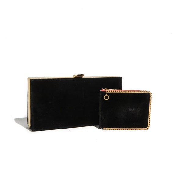 Women's 50's Black Velvet Clutch w/ Gold Ornated Trim & Matching Wallet / Evening Bag