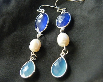 Gemstone Earrings! Blue Onyx, White Pearl, Blue Chalcedony, Long Earrings! OOAK! Bridal Gift, Birthday Gift, Anniversary Gift, Holiday Gift