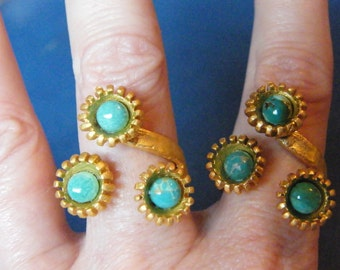Turquoise Rings! Turquoise Cabochons, Triple Set, Gold, Adjustable Rings! FREE U.S. SHIP! December Birthstone, Birthday Gifts, Holiday Gifts