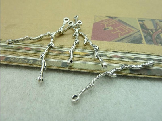 20 pcs 3x41mm antique silver tree branch double loops connectors links charms pendants fc93596