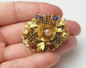 Vintage Brooch Stanley Hagler Taupe Seed Bead Red Blue Glass Beads Mid Century Mad Men Costume Jewelry Pin Gift For Her on Etsy