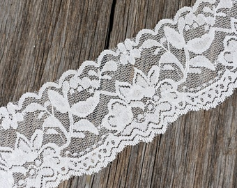 "Lace Elastic - WHITE - 2"" Stretch Lace Elastic - Thick Stretch Elastic Lace - Stretchy Lace by the Yard - 2"" Lace - 2 inch Elastic Lace Yard"