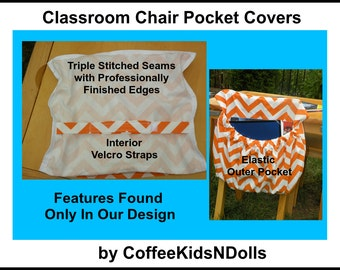 PREMIUM Chair Pockets Teacher Classroom Seat Sacks Made2Order Organization Expandable Pocket Sack in Chevron Willow Duck Cloth