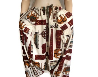 Women Harem Pants - Deep Cut With Pockets- Unisex -Cream and Burgundy With the elephant and the pharaoh print