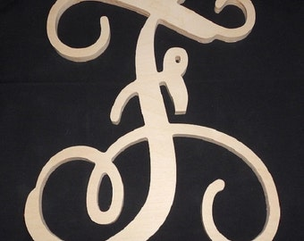 "Wooden Letters - Unpainted Vine Script Wooden Letters - Door Hanger - Nursery Decor - Wedding Decor - 22"" Size"