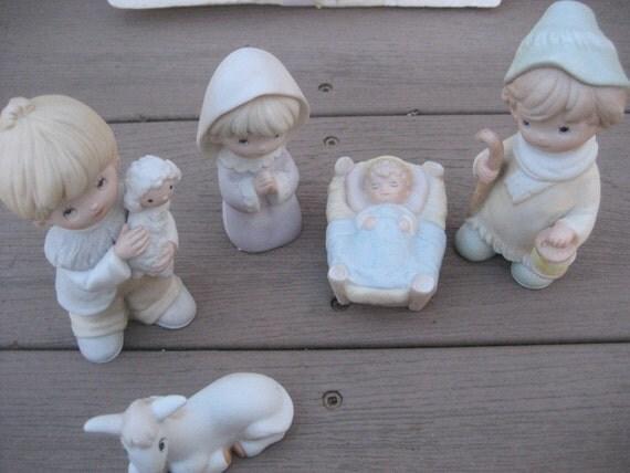 Homco 5 Piece Childrens Nativity Set # 5502 Vintage 1980s