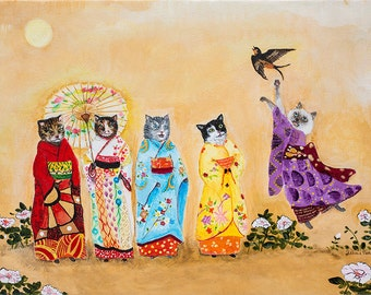 Warui Kiti // Print // Cat Art // Geisha // Kimono // Whimsical Art // Home Decor