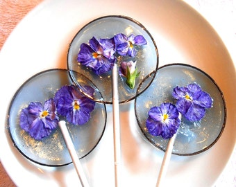 Gourmet, Blueberry Ice, Viola, Edible Giant Lollipops, Candied Fresh Flowers, Wedding Favors