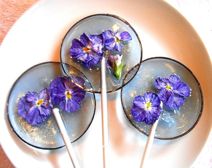 Gourmet Blueberry Ice Violas Edible Giant Lollipops Candied Fresh Flowers Wedding Favors Gift for Mothers, Flower Lover Gift
