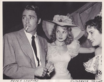 Early 1950s Peter Lawford Janet Leigh Elizabeth Taylor 8x10 one of a kind Photo 300 ppi uncompressed TIFF