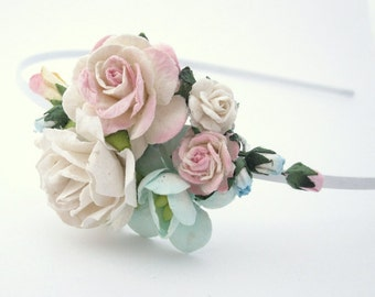 Light pink and mint roses Woodland Headband. Floral Fascinator. Flower. Wedding Party Bridal Accessory. Holiday  Bridesmaid