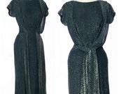 r e s e r v e d // vintage 1950s dress // LUREX Chromespun Cocktail Dress Black Silver Dramatic Drapes