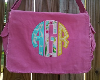 Large Raw Edge Messenger Bag or Diaper Bag with Personalized  Applique Monogram