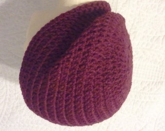 Burgundy slouchy beanie, unisex hat, mens hat, womens hat, teen to adult size, red wool blend slouchy hat, dark red slouchy beanie
