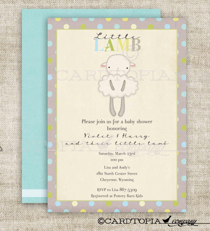 lamb baby shower invitations little lamb by cardtopiacompany