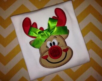 Red Reindeer Shirts - Ruffle Shirt - Girls Christmas Shirts - Rudolph Shirt