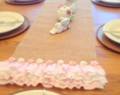 Burlap Table Runner Ruffled Pink Natural Burlap Table Runner, Rustic Table Runner, Spring Easter Decor Table Cover MADE TO ORDER