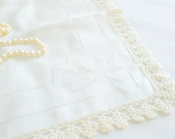 Vintage Handkerchief ,  Crocheted Edge Hanky, Ivory  Wedding Hankie,  Keepsake Handkerchief,  Bride's  Romantic Hanky Bridesmaid Heirloom