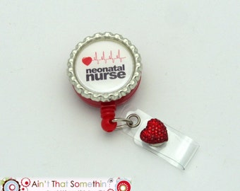Neonatal Nurse Retractable Badge Reel - Nurse Badge Clip - Neonatal Nurse - Hospital Badge Clips - Designer Badge Reels - Gifts Under 10