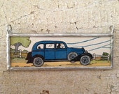 Blue Car on Country Road pendant (double sided) made from vintage books