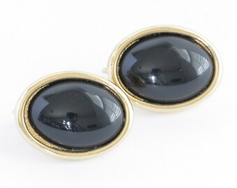 Sarah Coventry SIGNED Black and Gold Tone Clip On Earrings  // Vintage Jewelry