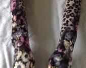 Fingerless Gloves Beautiful Floral & Leopard Print Fuzzy Handmade Girly Lolita Elegant Indie Boho Hippie