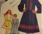 Simplicity 5349 vintage girls dress pattern, sewing pattern, pullover fitted  dress with shaped bodice and puffy sleeves, size 8