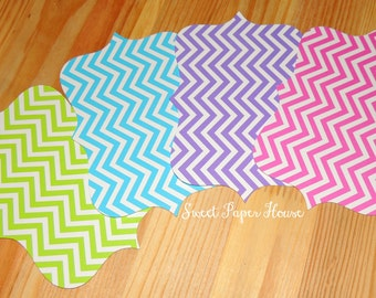 25 Chevron Bracket Cards - 6x4 inch - Blue, Lime Green, Hot Pink, Purple - Cardstock (Wedding, Ceremony, Reception, Baby, Shower, Birthday)