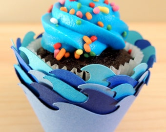 30 Wave Cupcake Wrappers - Six Shades of Blue (Cardstock) (Summer, Spring, Party, Theme, Water, Pool, Shark, Fish, Whale, Dolphin, Frozen)
