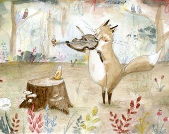 Fiddle Fox Illustration Print. Cute Fox Illustration Print
