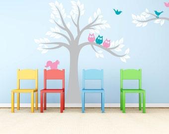 Children's tree decal - Owl tree - Nursery wall decal - Owl tree - Vinyl wall decal